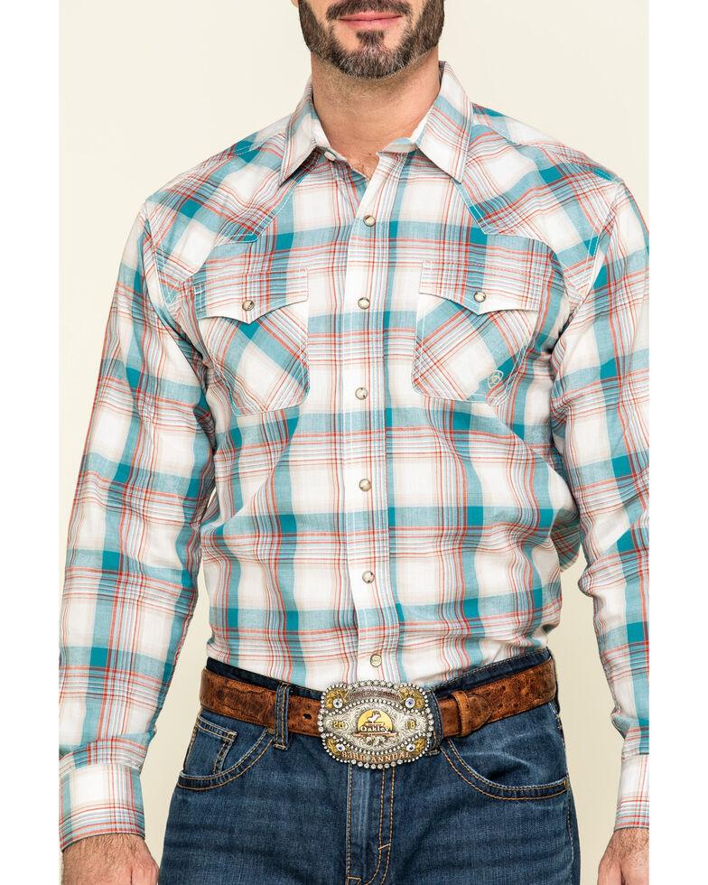 Ariat Men's Quillbrook Large Retro Plaid Long Sleeve Western Shirt , Beige/khaki, hi-res
