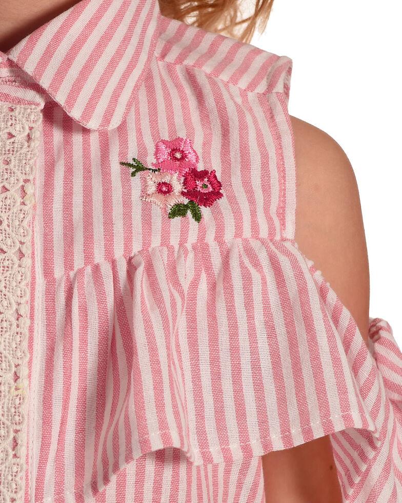 Idol Mind Girls' Striped Peek-A-Boo Ruffle Shirt, , hi-res