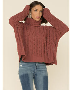 POL Women's High Low Cable Knit Turtleneck Sweater , Red, hi-res