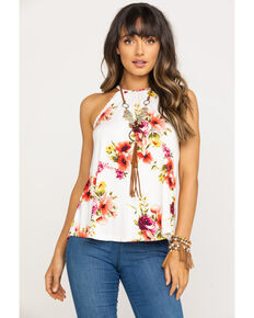 1e624980623167 Red Label by Panhandle Women's Floral Halter Top