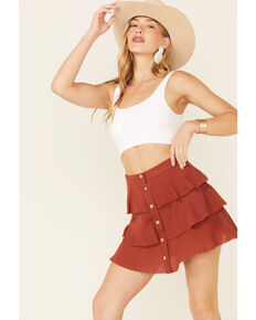 Very J Women's Button Front Tiered Mini Skirt, Rust Copper, hi-res