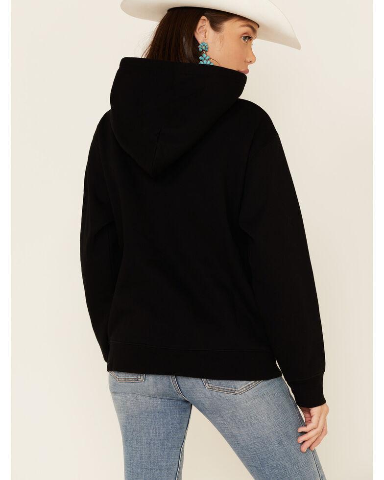 Brunette The Label Women's Blonde Logo Graphic Hooded Sweatshirt , Black, hi-res
