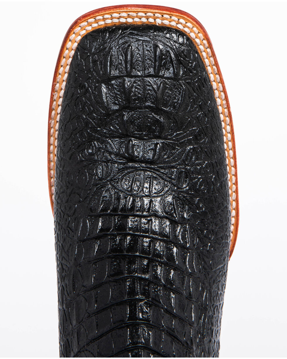Ferrini Black Caiman Croc Print Cowboy Boots - Wide Square Toe, Black, hi-res