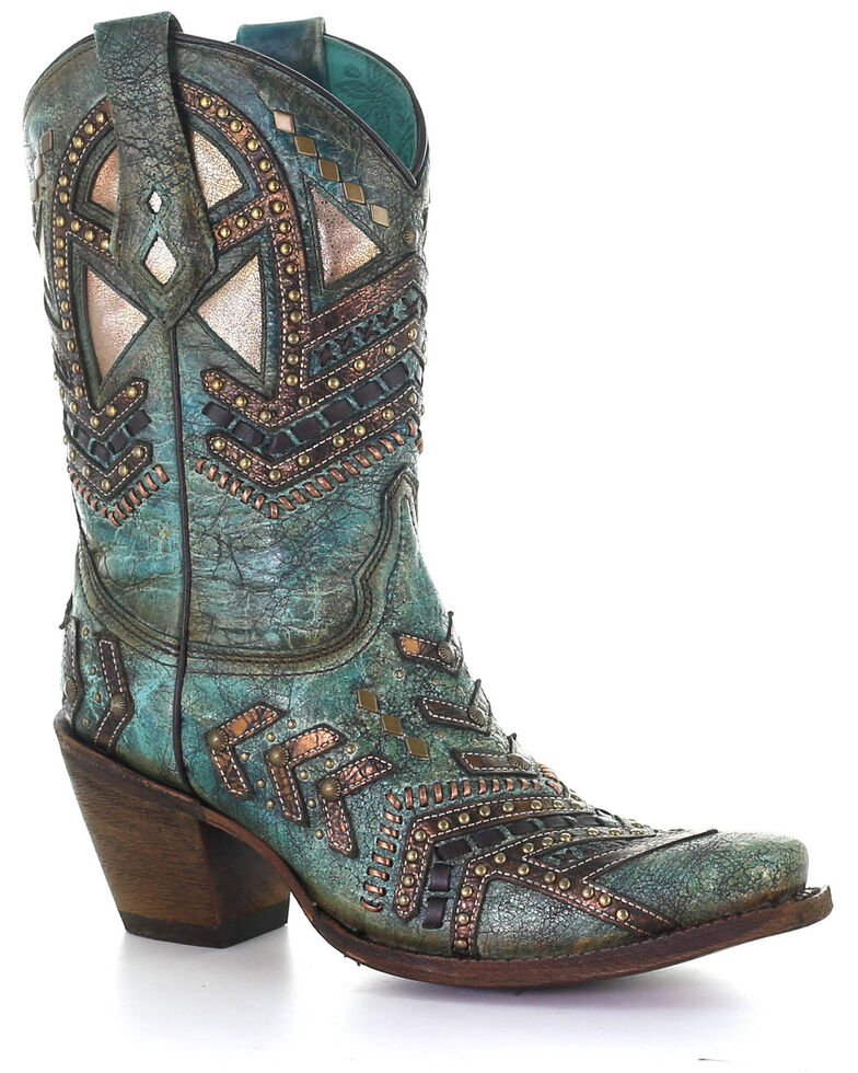 Corral Women's Turquoise With Bronze Studs Western Boots - Snip Toe, Turquoise, hi-res