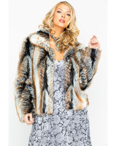 Angie Women's Open Front Faux Fur Jacket , Brown, hi-res