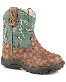 Roper Toddler Boys' Gator Print Western Boots - Round Toe, Brown, hi-res