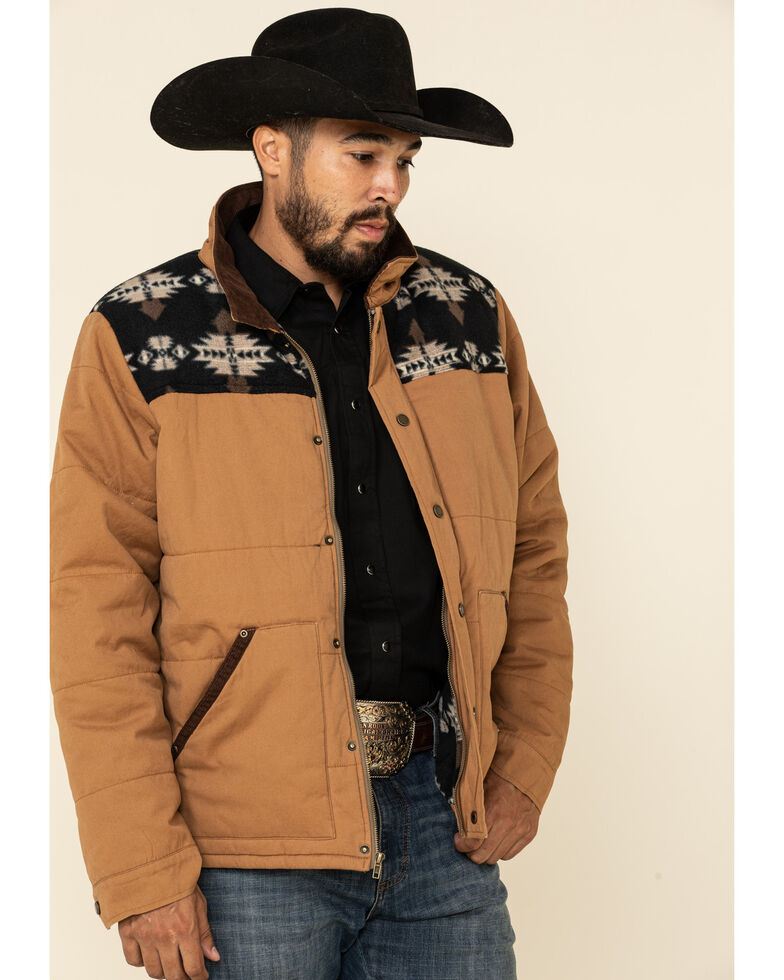 HOOey Men's Tan Aztec Canvas Snap Front Jacket , Tan, hi-res