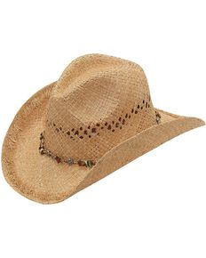 ddd7fb0211e78 Blazin Roxx Beaded Hat Band Raffia Straw Cowgirl Hat