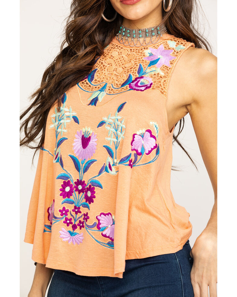 Free People Women's Flower Power Tank, Coral, hi-res
