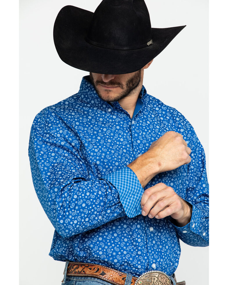 George Strait by Wrangler Men's Paisley Print Long Sleeve Western Shirt , Blue/white, hi-res