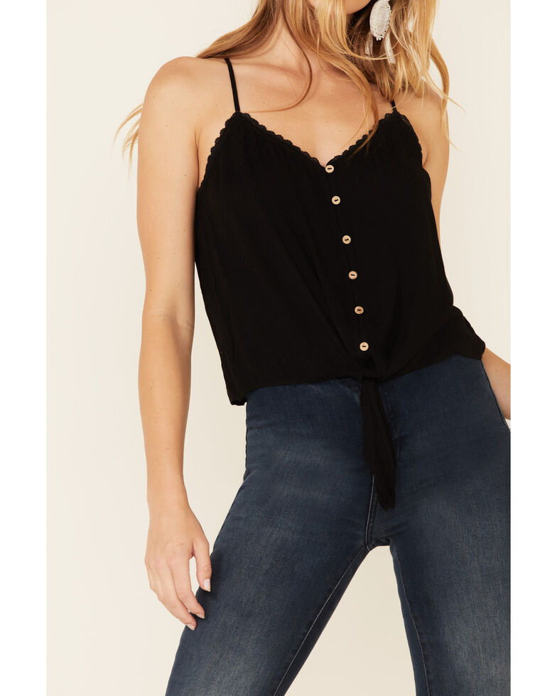 Miss Me Women's Black Button-Down Tie-Front Cami , Black, hi-res