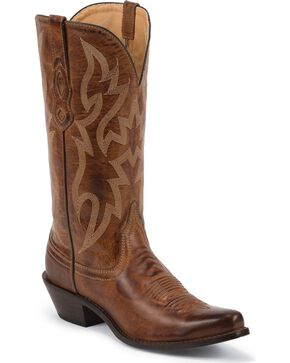 Nocona Brown Leather Cowgirl Boots - Snip Toe, Brown, hi-res