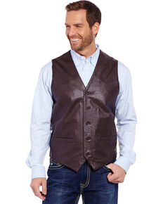 Cripple Creek Men's Lambskin Button Front Vest, Brown, hi-res