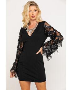 Flying Tomato Women's Lace V-Neck Bodycon Dress , Black, hi-res