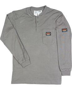 Rasco Men's Grey FR Preshrunk Henley T-Shirt , Grey, hi-res
