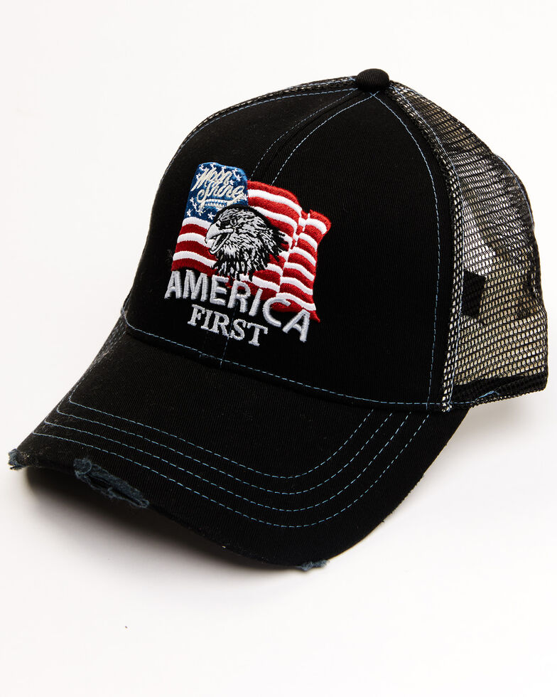 Moonshine Spirit Men's America First Flag Patch Mesh Ball Cap, Black, hi-res