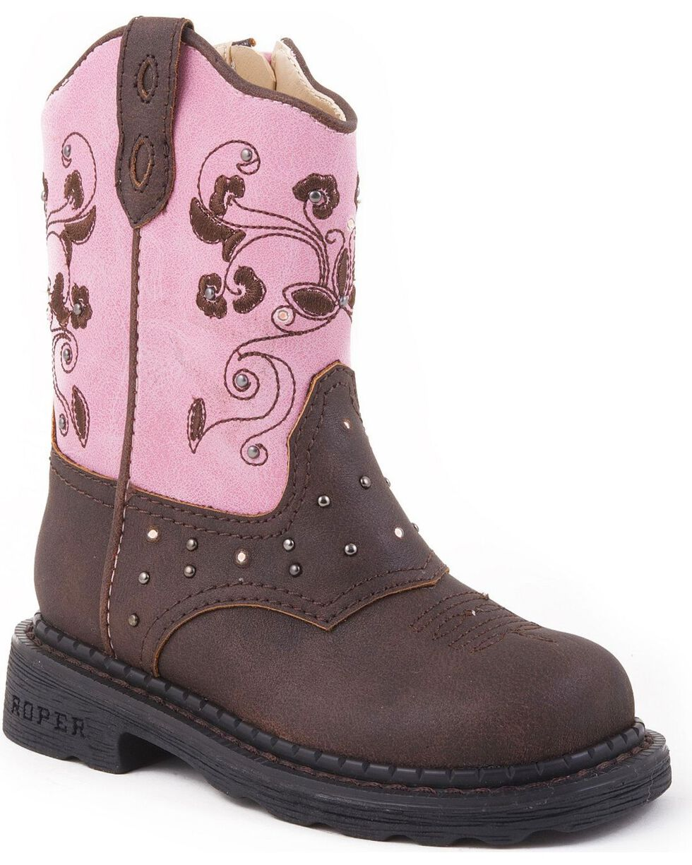 Roper Infant Girls' Light Up Western Boots, Brown, hi-res