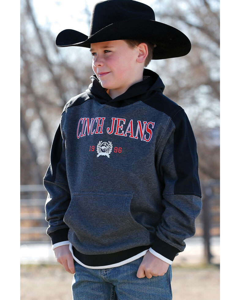 Cinch Boys' Heather Charcoal Logo Applique Fleece Hooded Sweatshirt , Heather Grey, hi-res
