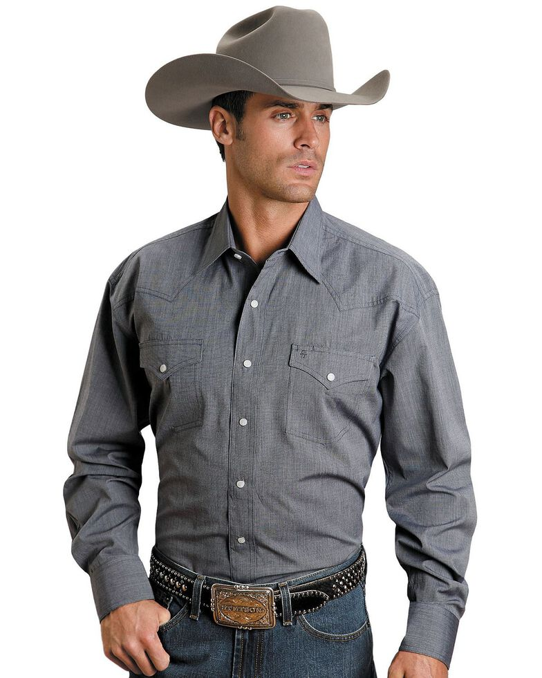 Stetson Men's Solid Snap Oxford Long Sleeve Western Shirt , Blue, hi-res