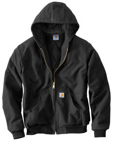 Carhartt Men's Quilted Flannel Lined Duck Active Work Jacket, Black, hi-res