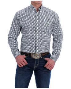 Cinch Men's Multi Square Geo Print Long Sleeve Button-Down Western Shirt , Multi, hi-res