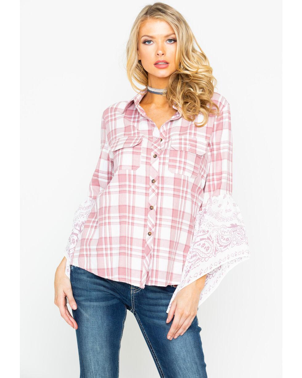 Shyanne Women's Plaid Handkerchief Sleeve Shirt  , Blush, hi-res