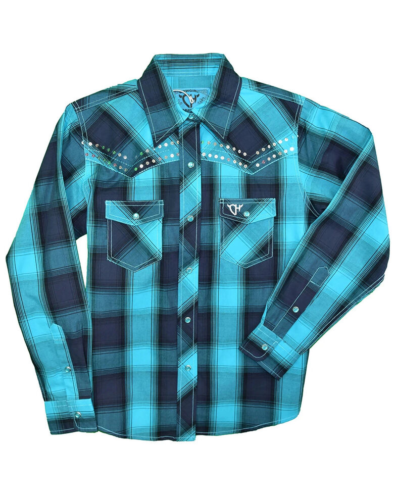Cowgirl Hardware Toddler Girls' Turquoise Ombre Plaid Sequin Long Sleeve Snap Western Shirt , Turquoise, hi-res