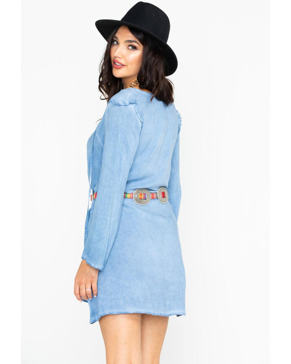 Wrangler Women's Western Tunic Solid Dress, Light Blue, hi-res