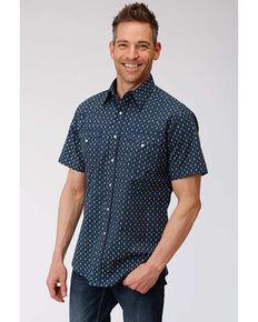 West Made Men's Web Geo Print Short Sleeve Western Shirt , Blue, hi-res
