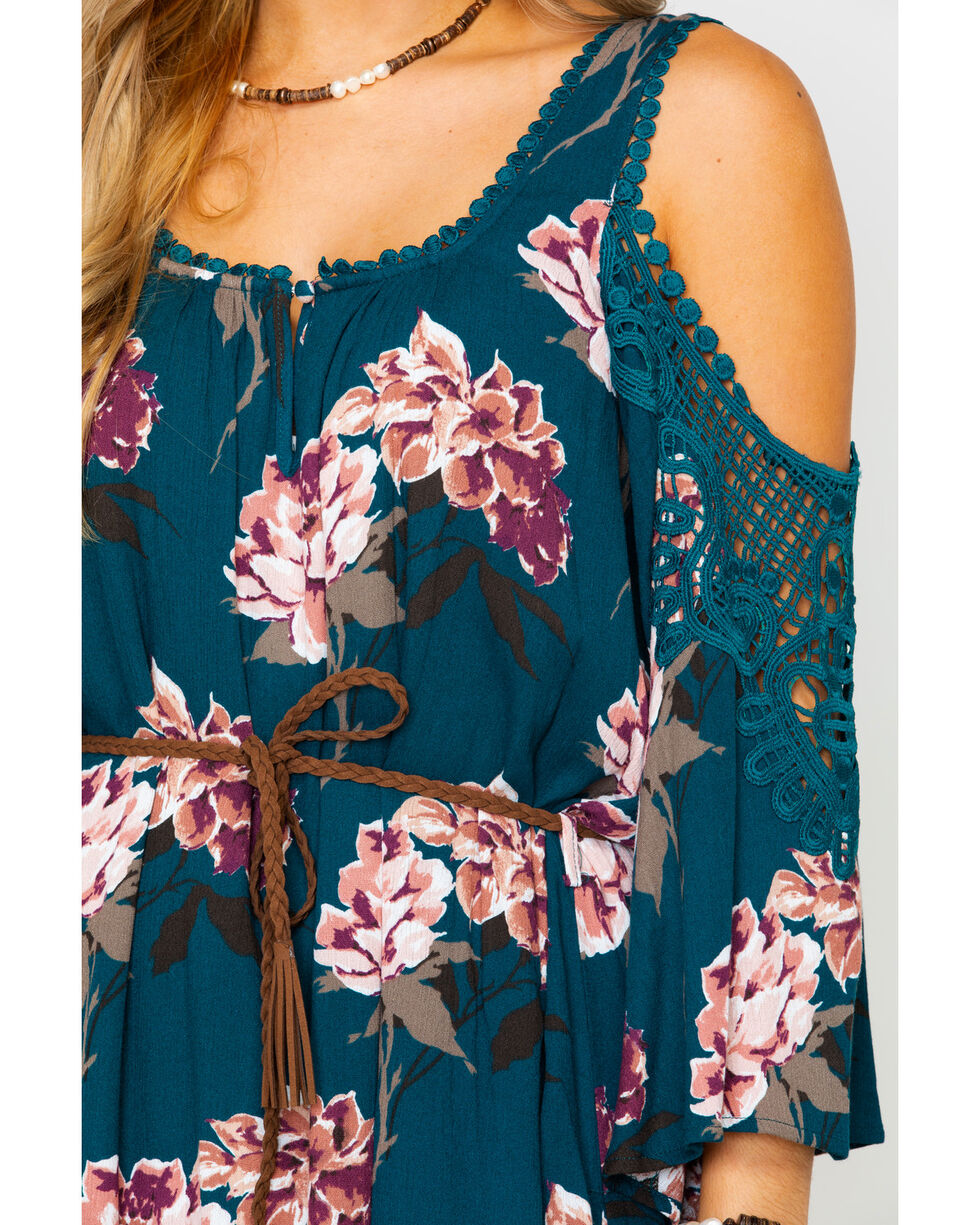 Shyanne Women's Floral Cold Shoulder Belted Dress , Teal, hi-res