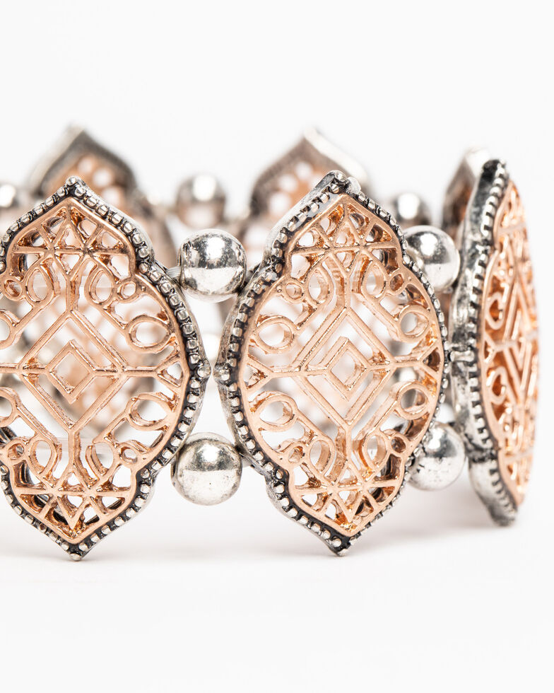Shyanne Women's Hidden Treasure Filigree Tonal Stretch Bracelet, Silver, hi-res