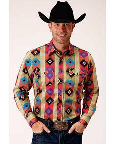 Roper Men's Brown Vintage Vertical Aztec Print Long Sleeve Western Shirt , Brown, hi-res