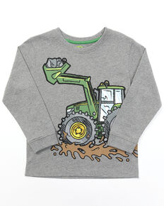 John Deere Toddler Boys' Grey Tractor Wrap Graphic Long Sleeve T-Shirt , Grey, hi-res
