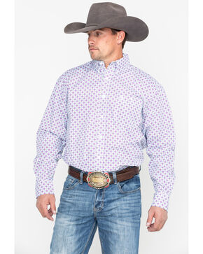George Strait by Wrangler Purple Geo Print Long Sleeve Western Shirt - Big & Tall , Purple, hi-res