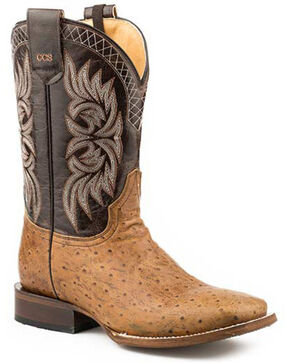 Roper Men's Logan Western Boots - Square Toe, Tan, hi-res