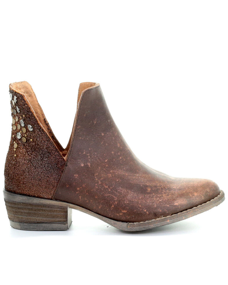 Corral Women's Copper Cutout Fashion Booties - Round Toe, Brown, hi-res