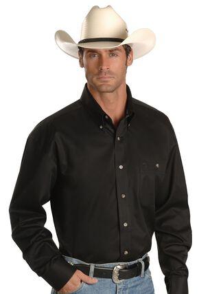 George Strait by Wrangler Men's Solid Long Sleeve Western Shirt, Black, hi-res