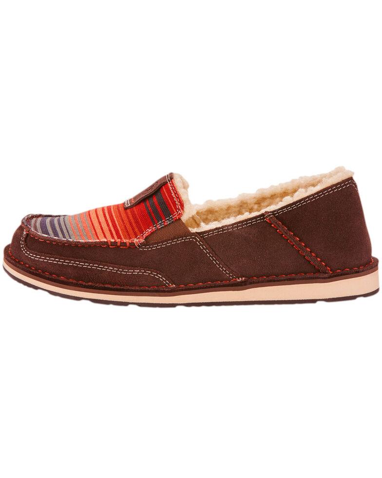 Ariat Women's Southwestern Serape Cruiser Fleece Slip On Shoes - Moc Toe, Chocolate, hi-res