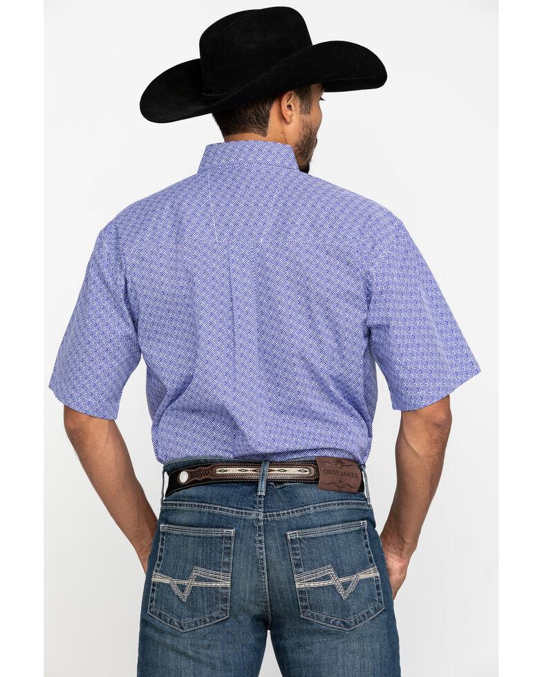 George Strait By Wrangler Purple Geo Print Short Sleeve Western Shirt , Purple, hi-res