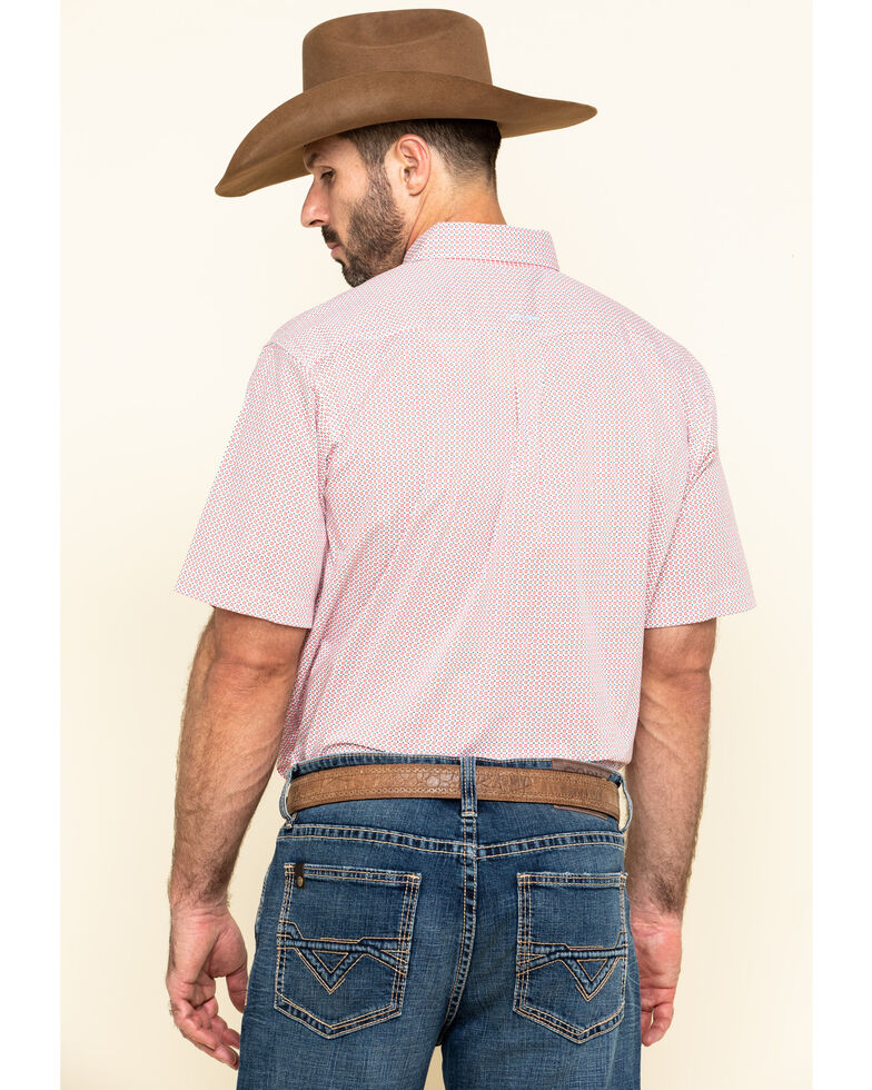 Ariat Men's Nemano Small Geo Print Short Sleeve Western Shirt - Big , White, hi-res