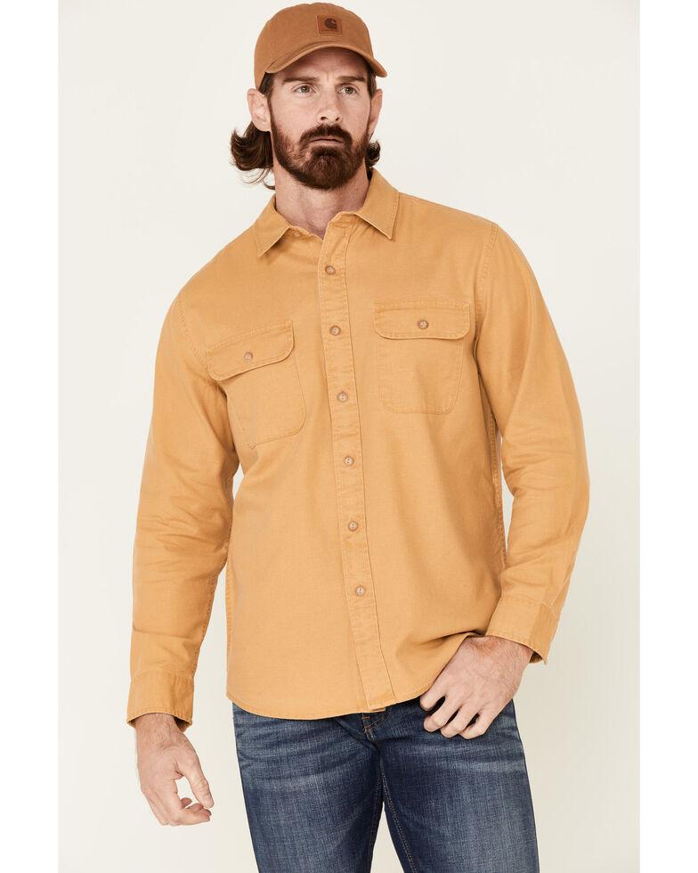 Pendleton Men's Mustard Beach Shack Solid Long Sleeve Western Shirt , Yellow, hi-res