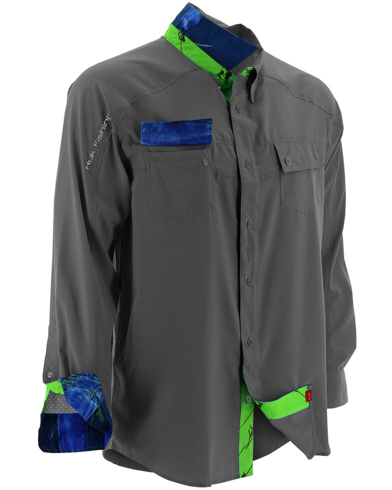 Huk Performance Fishing Men's Next Level Woven Shirt , Charcoal Grey, hi-res