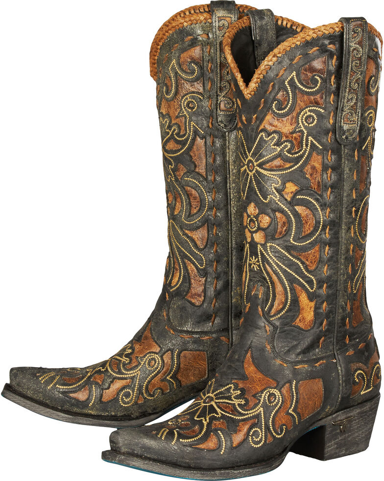 Lane Robin Embroidered Waxed Black Cowgirl Boots - Snip Toe, Brown, hi-res