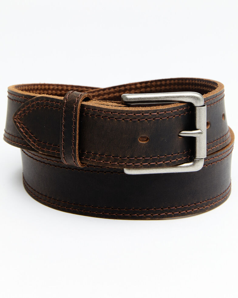 Hawx Men's Pointed Double Stitch Work Belt, Brown, hi-res