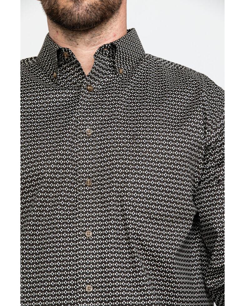 Tuf Cooper Men's Competition Brown Geo Print Long Sleeve Western Shirt , Brown, hi-res