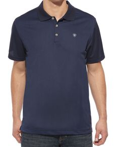 Ariat Men's Navy Tek Short Sleeve Polo Shirt, Navy, hi-res
