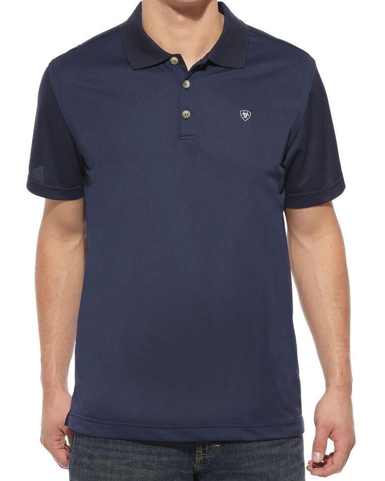 Ariat Men's Navy Tek Short Sleeve Polo Shirt, Navy, hi-res