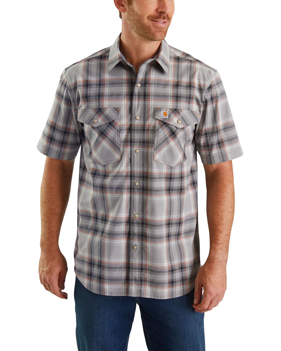 Carhartt Men's Rugged Flex Bozeman Plaid Short Sleeve Work Shirt - Big , Dark Grey, hi-res