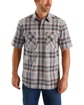 Carhartt Men's Grey Rugged Flex Rigby Short Sleeve Plaid Work Shirt - Tall , Dark Grey, hi-res