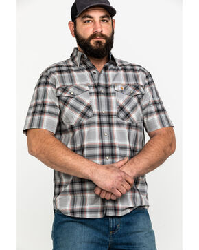 Carhartt Men's Rugged Flex Bozeman Plaid Short Sleeve Work Shirt , Dark Grey, hi-res
